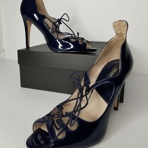 Zara Navy Blue Patent Lace-up Shoes